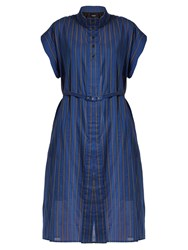 Rachel Comey Oasis Banker Striped Cotton Blend Dress Navy Stripe