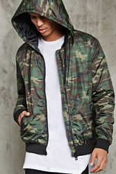 Forever 21 Padded Camo Print Hooded Jacket Olive Brown