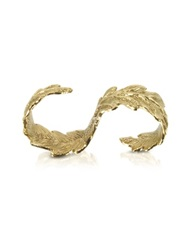 Bernard Delettrez Two Fingers Bronze Leafy Ring Gold