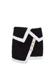 Balmain Asymmetric Tweed Mini Skirt Black White