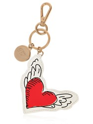 Roger Vivier Coeur Tattoo Leather Key Holder