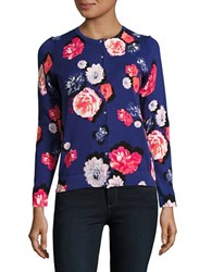 Lord And Taylor Petite Fresh Floral Button Down Cardigan Purple
