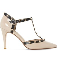 Dune Cliopatra Studded Leather Shoes Nude Patent