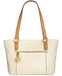 Giani Bernini Ostrich Embossed Tote Created For Macy's Ivory