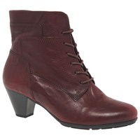 Gabor National Lace Up Cone Heel Ankle Boots Merlot Leather