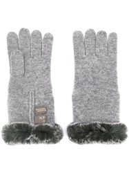 N.Peal Fur Trim Gloves Grey