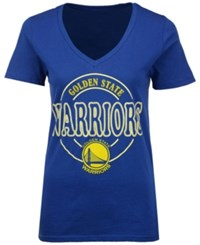 5Th And Ocean Women's Golden State Warriors Circle Glitter T Shirt Royalblue