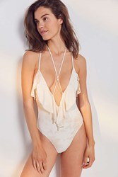 Blue Life Ruffle Romance One Piece Swimsuit White