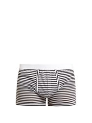 Dolce And Gabbana Striped Stretch Cotton Boxer Trunks Black Multi