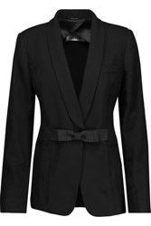 Maison Martin Margiela Silk Chiffon Trimmed Embellished Wool Canvas Blazer Black