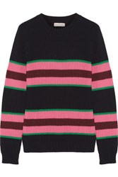 Chinti And Parker Striped Cotton Silk Blend Sweater Midnight Blue