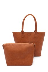 Forever 21 2 In 1 Faux Leather Tote Bag Tan