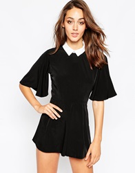 Oh My Love Flare Sleeve Playsuit With Lace Collar Black