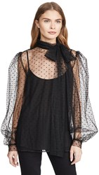 Costarellos Bishop Sleeve Embroidered Dot Tulle Blouse Black