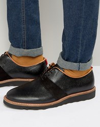 Zign Leather Suede Mix Derby Shoes Black