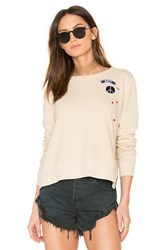 Sundry Zip Crew Neck Patch Sweatshirt Beige