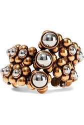 Roberto Cavalli Woman Burnished Gold And Silver Tone Cuff Gold