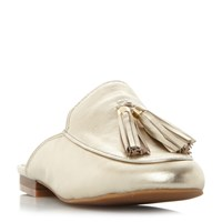 Kenneth Cole Whinnie Tassle Mules Gold