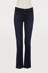 J Brand Maud Mid Rise Straight Cut Skinny Jeans Sparks