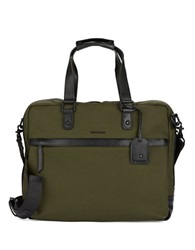 Cole Haan Canvas And Leather Briefcase Messenger Bag Ivy Green