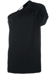 Stella Mccartney One Shoulder Ruffle Top Black