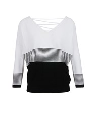 Morgan Back Lace Up Striped Jumper White