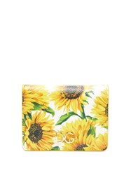Dolce And Gabbana Sunflower Print Leather Wallet White Multi