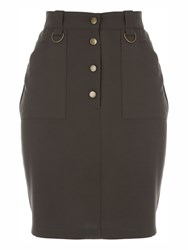 Jane Norman Ring Buttoned Detail Pencil Skirt Khaki