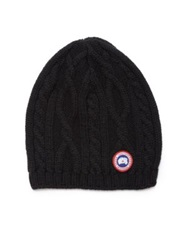 Canada Goose Cable Knit Merino Wool Beanie Black