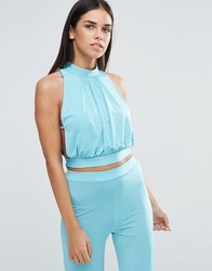 Love High Neck Tie Back Top With Lace Detail Aqua Blue