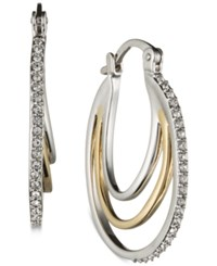 Judith Jack Two Tone Marcasite And Crystal Layer Look Pave Hoop Earrings Two Tone