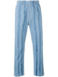 Pence Striped Trousers Men Cotton 46 Blue