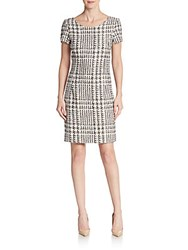 Oscar De La Renta Tweed Shift Dress Chocolate