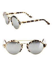 Illesteva Milan Ii 54Mm Mirrored Oversized Aviator Sunglasses White Tortoise