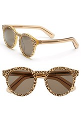 Illesteva Women's 'Leonard Ii' 50Mm Round Mirrored Sunglasses Cheetah Blonde Brown Cheetah Blonde Brown
