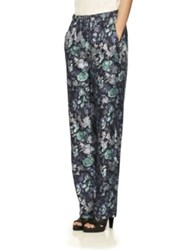 Burberry Floral Print Mulberry Silk Trousers Navy