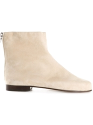 Courreges Back Zip Ankle Boots Nude And Neutrals