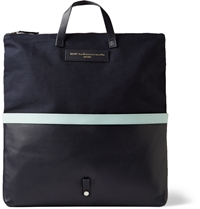 Want Les Essentiels Peretola Canvas And Leather Convertible Tote Blue