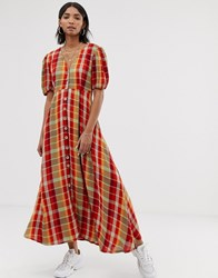 Neon Rose Maxi Tea Dress With Puff Sleeves In Bold Check Multi
