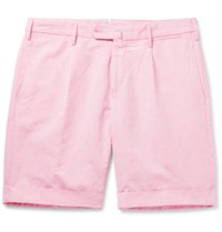 Incotex Slub Cotton And Linen Blend Shorts Pink
