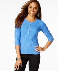 Karen Scott Three Quarter Sleeve Scoop Neck Top Only At Macy's Deep Pacific
