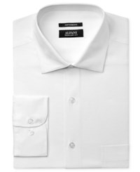 Alfani Men's Classic Regular Fit Performance Stretch Easy Care White Twill Textured Dress Shirt Only At Macy's