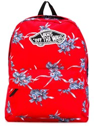 Vans Floral Print Backpack Unisex Polyester One Size Red