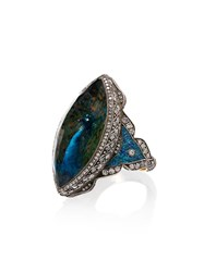 Loquet Diamond Blue Quartz Peacock Ring