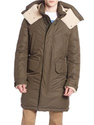 Moncler Grafton Shearling Trimmed Long Parka Black Olive