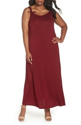 Evans Plus Size Tie Strap Knit Maxi Dress Wine
