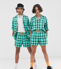 Reclaimed Vintage Unisex Checked Short In Green