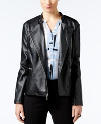Alfani Faux Leather Zip Front Moto Jacket Only At Macy's Deep Black