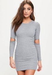 Missguided Grey Striped Cold Elbow Bodycon Dress