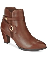Anne Klein Chelsey Zippered Booties Dark Cognac Leather